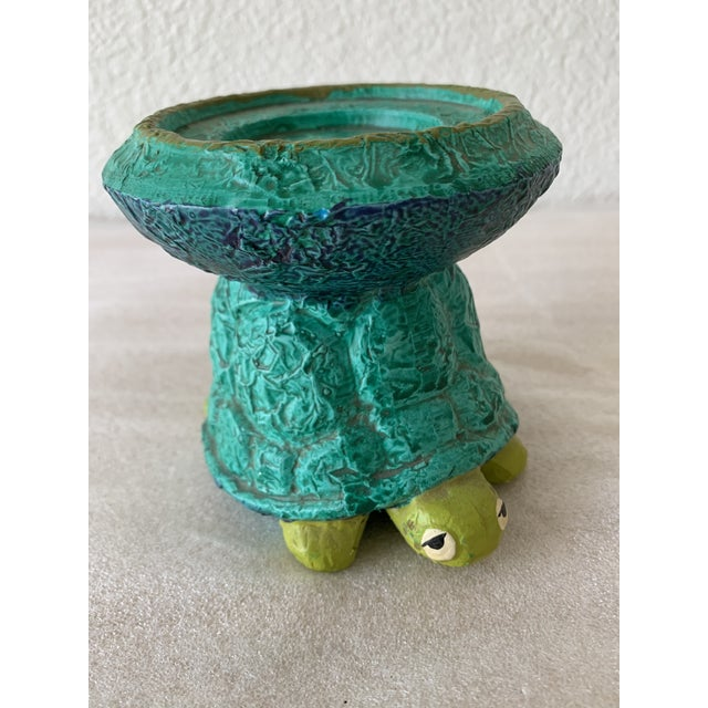 Turquoise Midcentury Turtle Ceramic Candleholder For Sale - Image 8 of 11