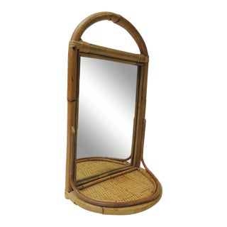 Vintage Bamboo and Rattan Mirror Wall Shelf For Sale