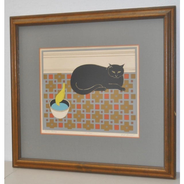 "Mid-Century Modern Will Barnet ""Cat and Canary"" Pencil Signed Lithograph C.1970s For Sale - Image 3 of 10"