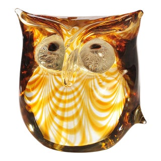 1970s Vintage Antonio Da Ros Cenedese Murano Glass Owl Sculpture For Sale