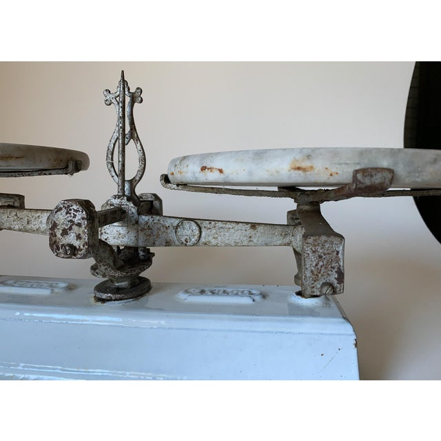 Victorian Antique 1920s Iron and Marble Balance Scale For Sale - Image 3 of 10