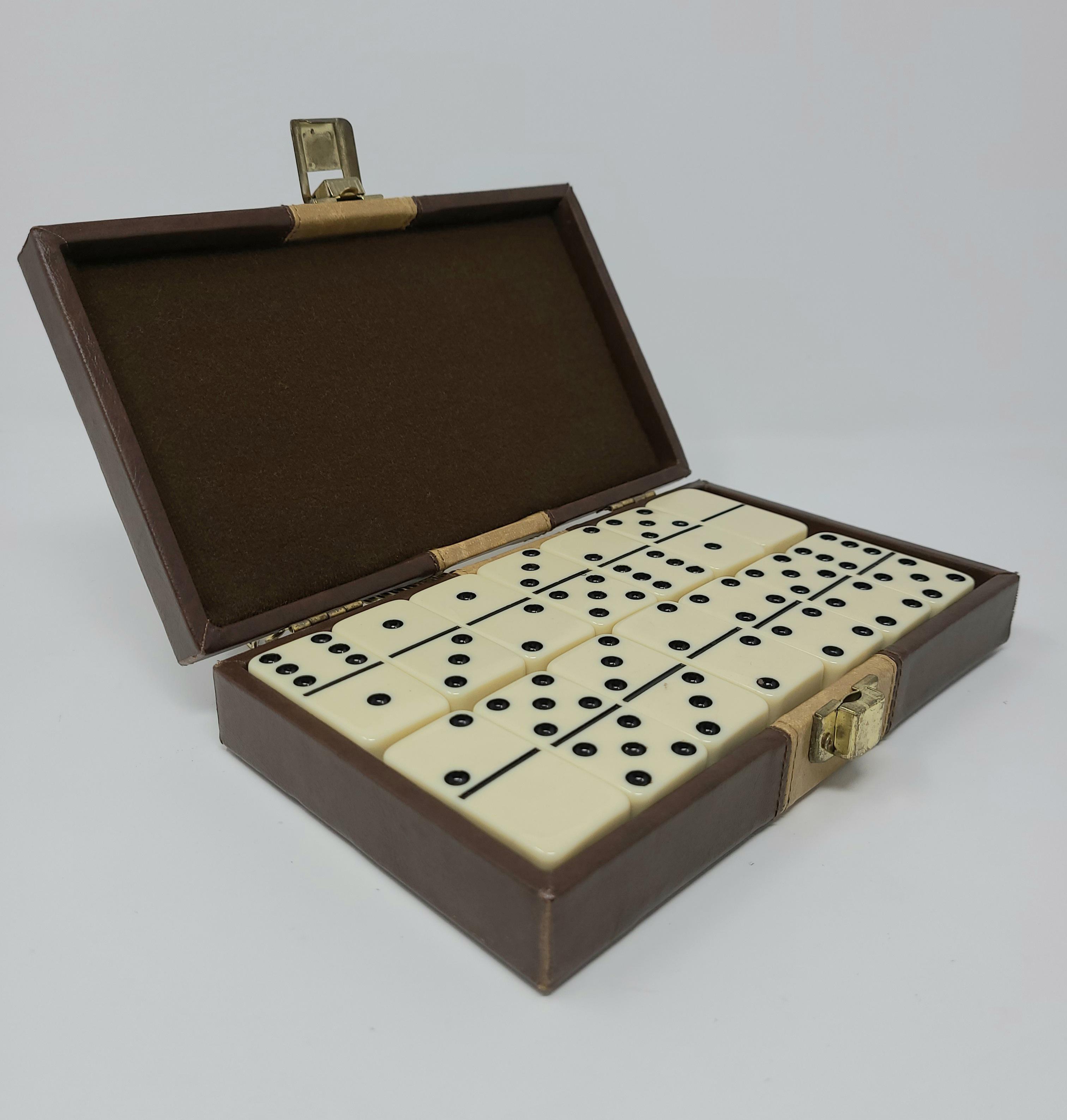 Double Six Bakelite Dominoes In Case Vintage Unopened Domino Tile Game ~ #D4103