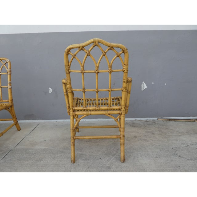 Classic Chinese Chippendale Rattan Dining Room Table Base with 6 Pagoda Top Dining Chairs For Sale - Image 9 of 13
