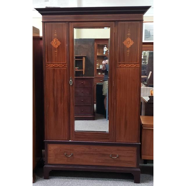 Wood C. 1915 Mirror Door Inlaid Mahogany Armoire For Sale - Image 7 of 7