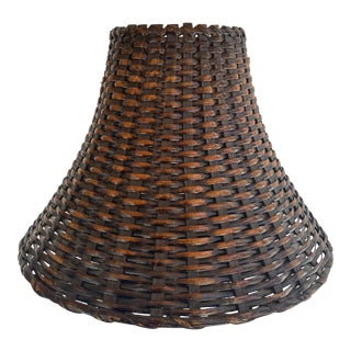 Vintage 1970s Dark Brown Bamboo Wicker Woven Lamp Shade With Burnt Golden Details For Sale