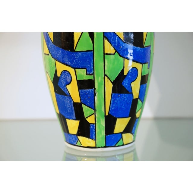 Charles Catteau 1920s Green Blue & Yellow Abstract Geometric Charles Catteau Vase For Sale - Image 4 of 7