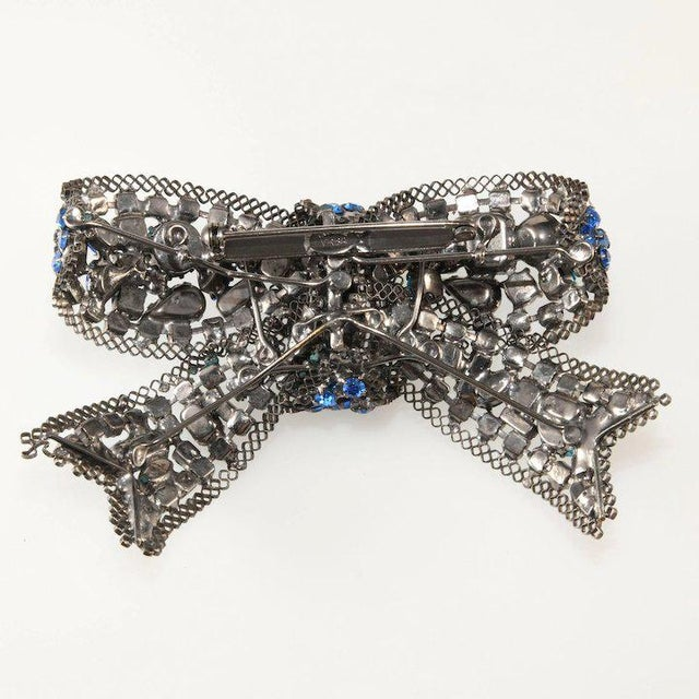 Traditional Lawrence Vrba 4.5 Inch Blue Rhinestone Bow Brooch Pin For Sale - Image 3 of 4