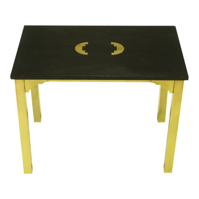 Brass & Black Granite End Table With Geometric Inlay For Sale