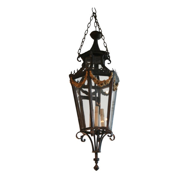 19th Century Louis XV Style Iron Lantern For Sale