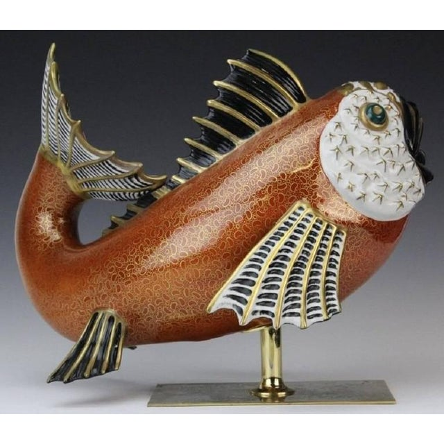 1970s Vintage Mangani for Oggetti Hand-Painted Fish Model For Sale In Houston - Image 6 of 8