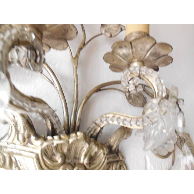 French Maison Bagues Style Silver Floral Beaded Sconces For Sale In Los Angeles - Image 6 of 10