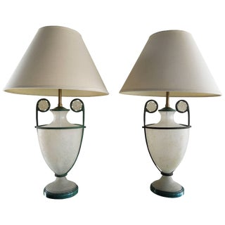 1980s Lamps by Seguso Vetri D' Arte in Scarvo Glass and Verdigris - a Pair For Sale
