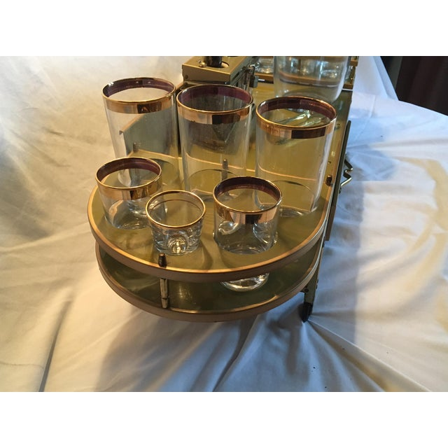 Mid-Century Modern Tabletop Bar & Glassware - Image 4 of 11