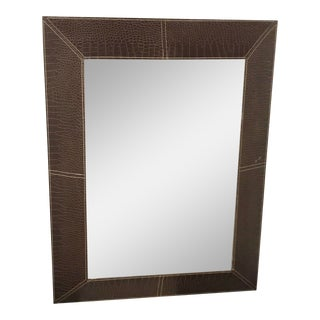 Chocolate Leather Framed Beveled Mirror For Sale