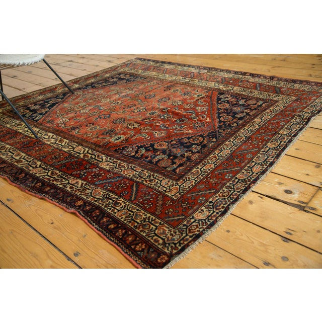 "Antique Fine Malayer Square Rug - 5'8"" x 5'8"" - Image 6 of 10"