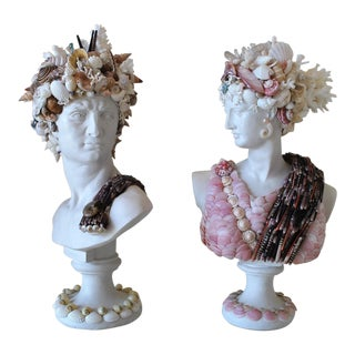 Mini Shell Encrusted Apollo & Diana Busts - a Pair