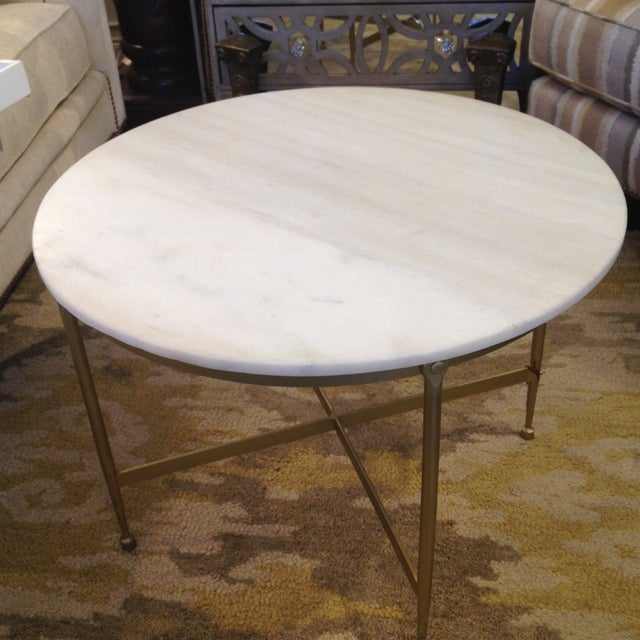 Round White Granite Topped Metal Coffee Table Chairish