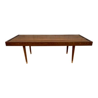 Mid Century Modern George Nelson Style Slat Bench Coffee Table For Sale