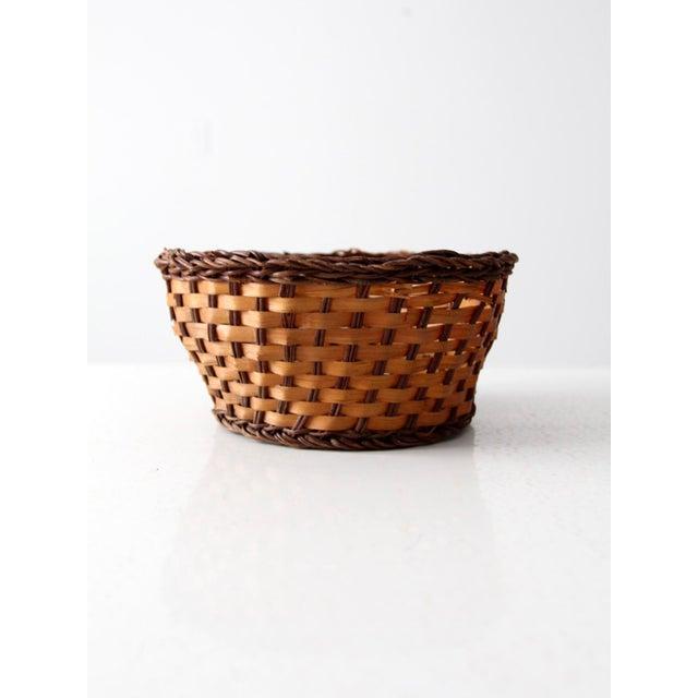 Fiber Vintage Woven Basket Bowl For Sale - Image 7 of 7