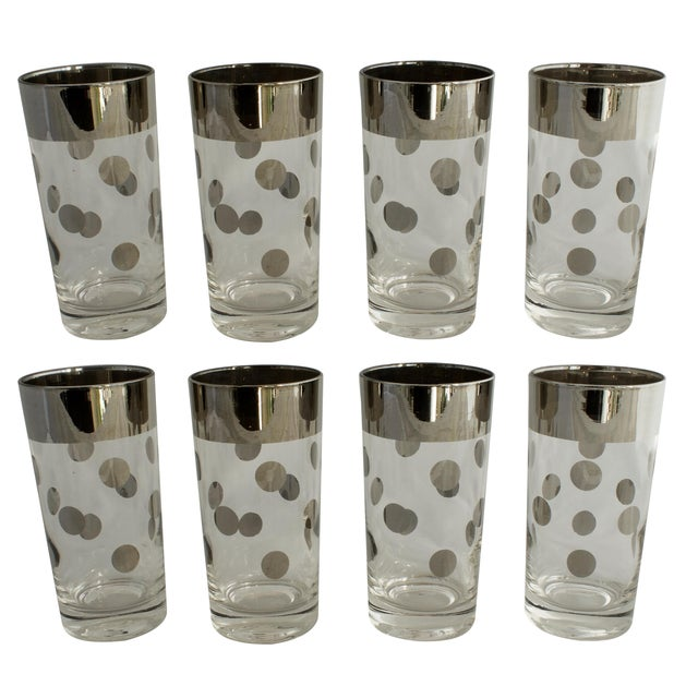 Dorothy Thorpe Silver Rim Polka Dot Glasses - Set of 8 For Sale