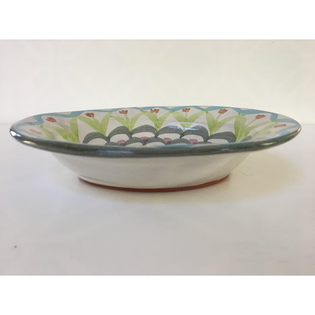 1990s MacKenzie-Childs Hand Painted Dish / Catchall in King Ferry Pattern For Sale - Image 5 of 11