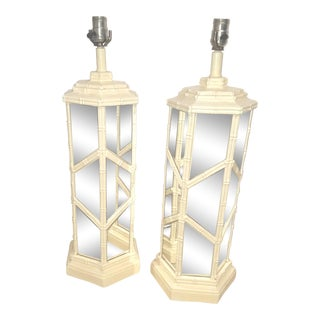 White Faux Bamboo & Mirrored Palm Beach Regency Plaster Lamps - a Pair For Sale