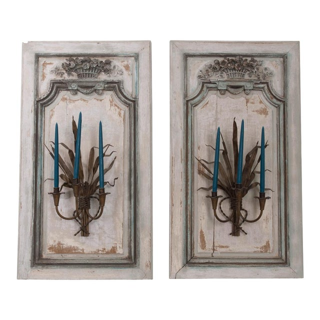 Pair of French Louis XV Hand-Painted and Carved Oak Boiserie Panels For Sale - Image 13 of 13
