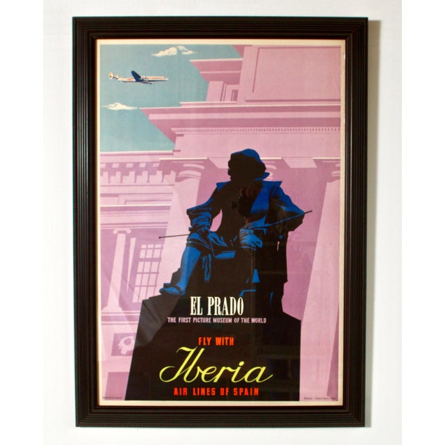 Raspberry Pink 1950s Vintage Iberia Airlines Framed Travel Poster For Sale - Image 8 of 8
