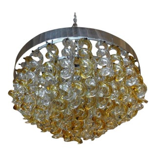 1960's Vintage Murano Glass Chandelier by Mazzega For Sale