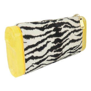 Edie Parker Zebra Print Calf Hair Clutch Handbag With Acrylic Details For Sale