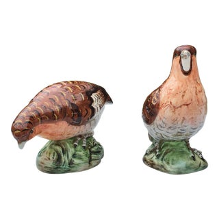 Mid-Century Porcelain Quail Figurines - a Pair For Sale