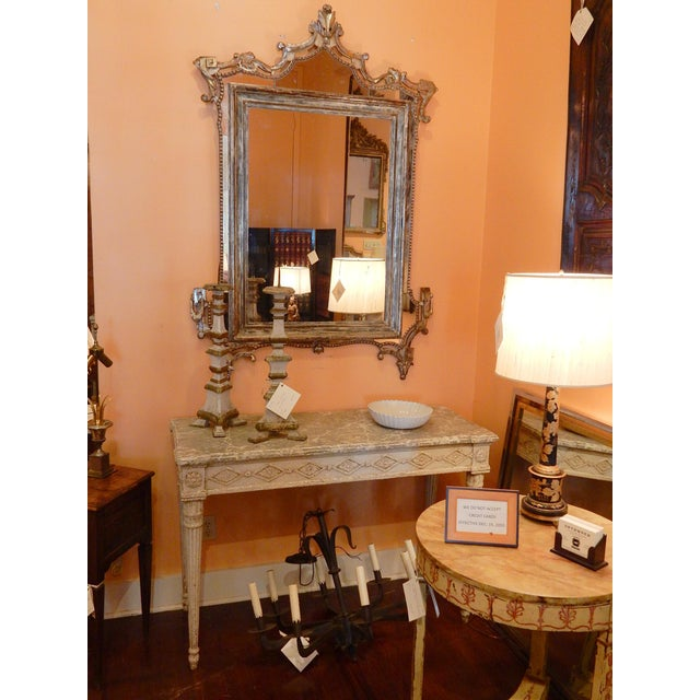 Directoire' Worn Silver Gilt Mirror For Sale - Image 9 of 10