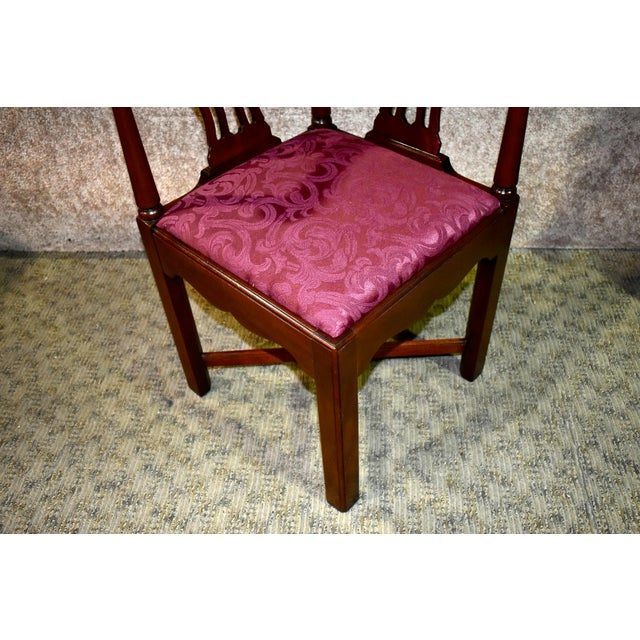 1970s Vintage Chippendale Hickory Chair Solid Mahogany Style Corner Chair For Sale - Image 5 of 13