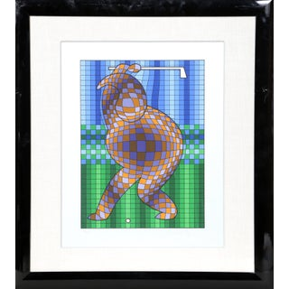 """1970s Victor Vasarely, """"Golfer (Blue and Gold)"""", Op Art Screenprint For Sale"""