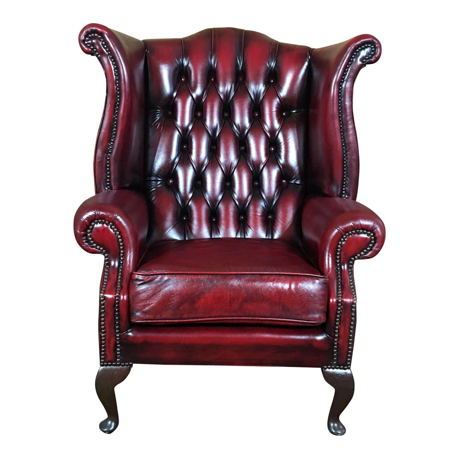 Vintage Mid Century English Leather Chesterfield Wingback Chair