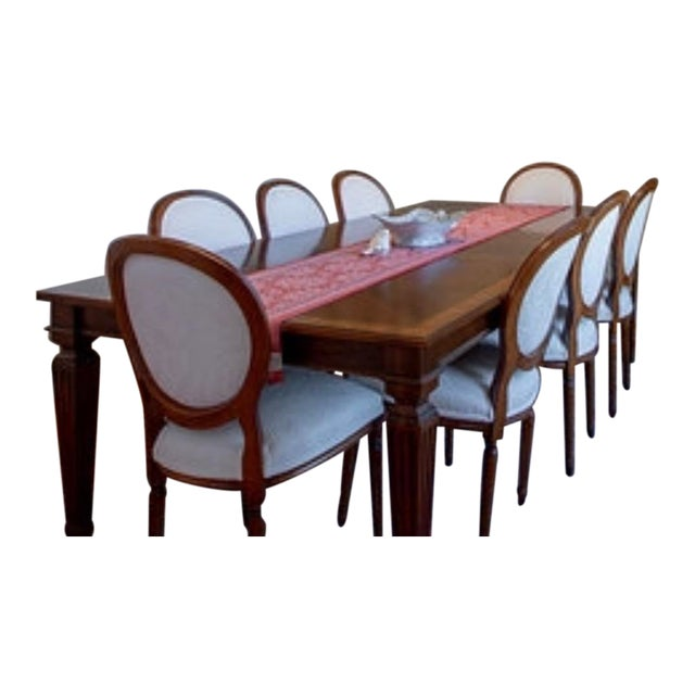 Ethan Allen Louis XIV Goodwin Dining Table With Ballard White Matelasse Chairs Set For Sale