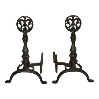 Circa 1915 Cast Iron Andirons With Dragon Medallion Finials on Turned Balusters and Splayed Feet - a Pair For Sale