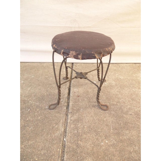 Metal Antique Ice Cream Parlor Twisted Metal Foot Stool Ottoman For Sale - Image 7 of 7
