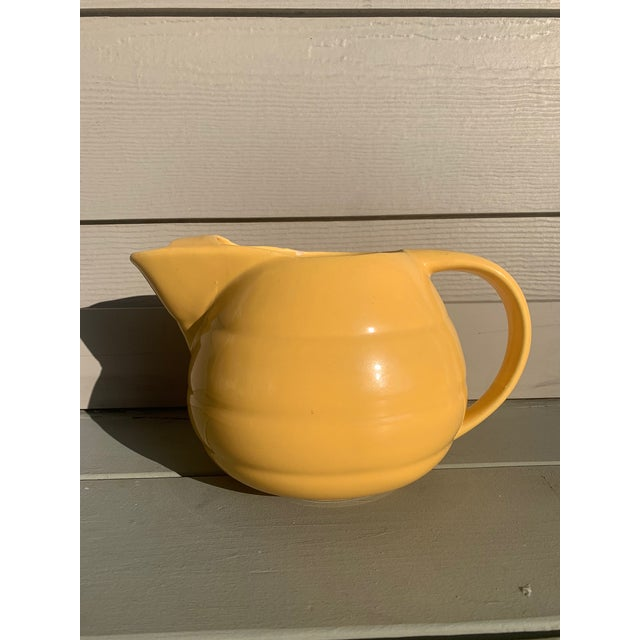 Ceramic Vintage 1940s Yellow Pottery Pitcher W/Ice Lip by Bauer Pottery For Sale - Image 7 of 7