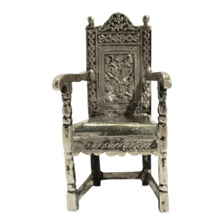 Gothic Sterling Silver Armchair Model For Sale
