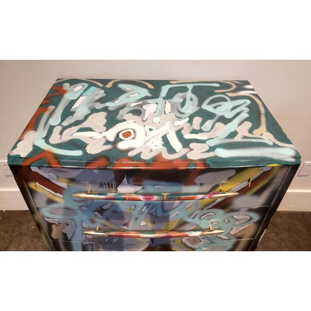 Wood Graffitied Artist Painted Chest of Drawers For Sale - Image 7 of 10