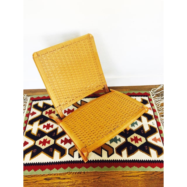 Mid Century Hans Wegner Style Folding Rope Chair For Sale - Image 5 of 8