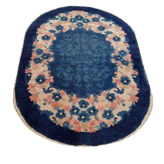 Antique Chinese Oval Hand Made Knotted Rug - 3x5 For Sale