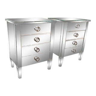 Pair of Custom Mirrored End Tables For Sale