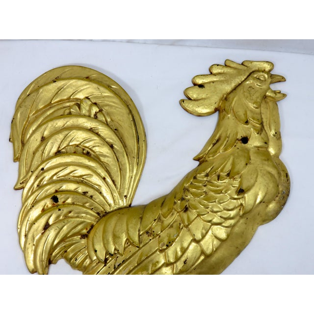 Large Size Cast Iron Rooster Wall Decoration with Fine Gold Leaf Features. American Made, marked Iron Art on Back. Circa...