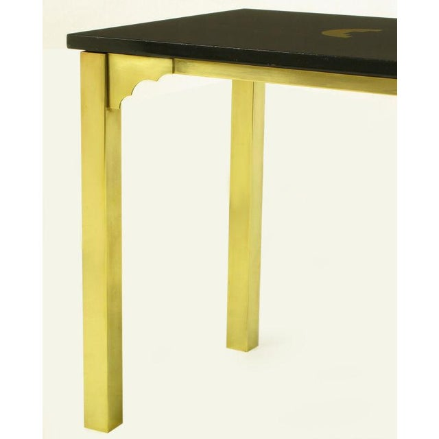 Brass & Black Granite End Table With Geometric Inlay For Sale In Chicago - Image 6 of 7