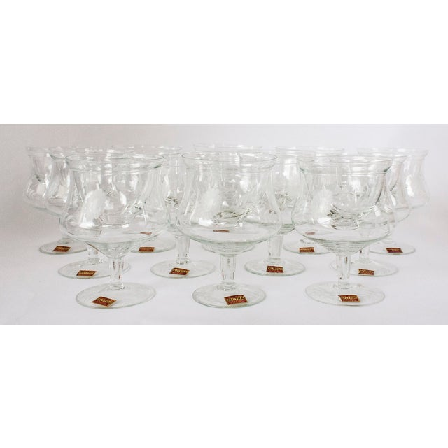 Vintage set of 12 Avitra hand made etched crystal shrimp cocktail glasses with chiller inserts. Imported from Bulgaria...