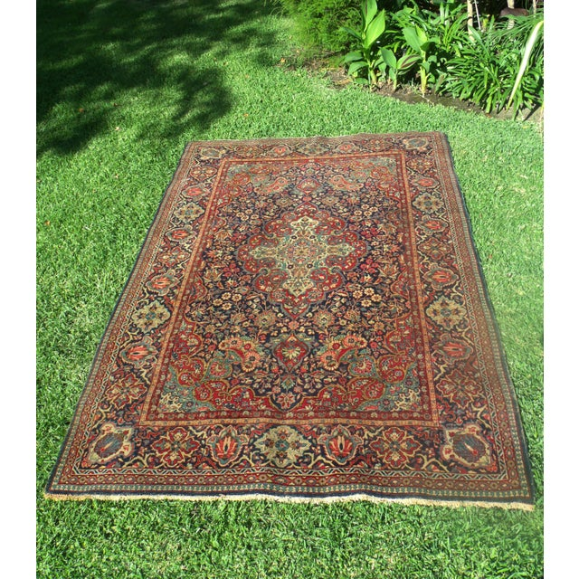 Antique Persian Oriental Handwoven Rug - 4'5'' X 6'6'' For Sale - Image 11 of 11