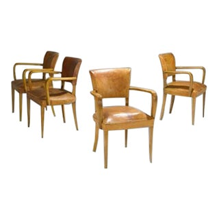 Set of 4 Austrian Art Deco Arm Chairs For Sale