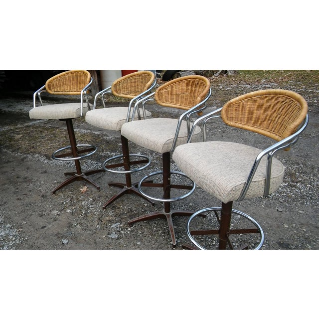 Vintage Samsonite Wicker & Upholstered Swivel Bar Stools - Set of 4 For Sale - Image 10 of 11